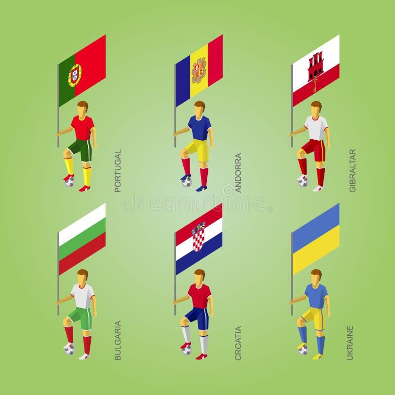 Voetbalsters met vlag: Polen, Andorra, Gibraltar, Kroatië, stock illustratie