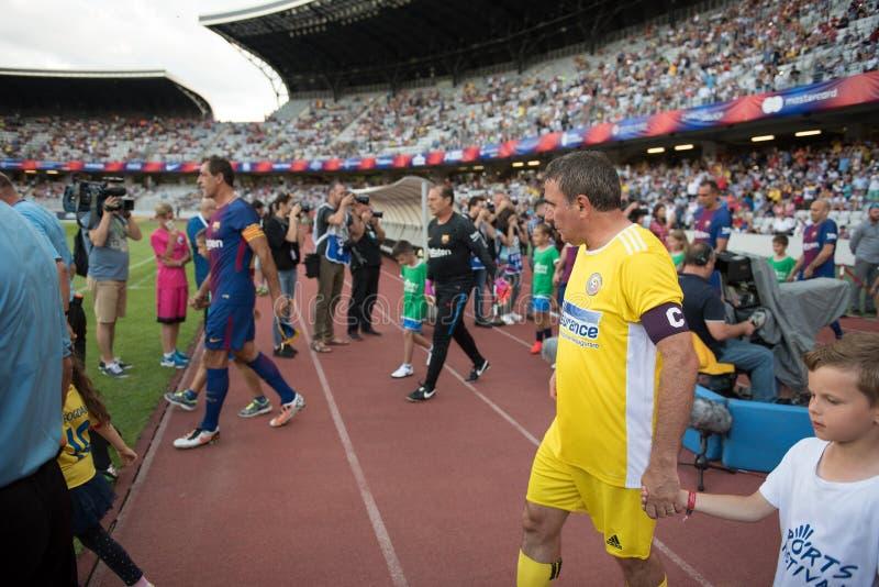 Voetbalsters tijdens een gelijke stock foto