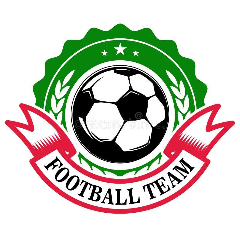 Voetbalteam Embleemmalplaatje met voetbalbal Ontwerpelement voor embleem, etiket, teken, kenteken stock illustratie