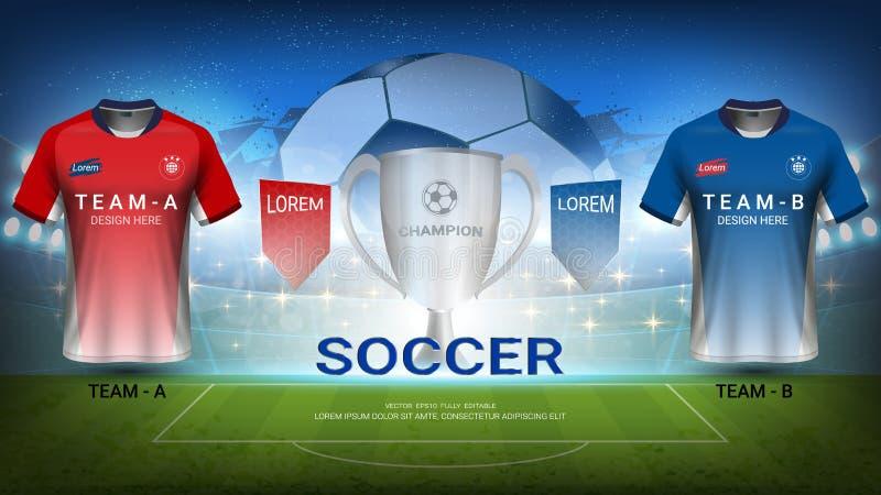 Voetbalteam A versus team B, Definitieve Gelijke van Sporttoernooien, Trofeewinnaar met Nationaal Team Soccer Jersey Uniforms royalty-vrije illustratie