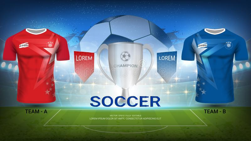 Voetbalteam A versus team B, Definitieve Gelijke van Sporttoernooien, Trofeewinnaar met Nationaal Team Soccer Jersey Uniforms vector illustratie