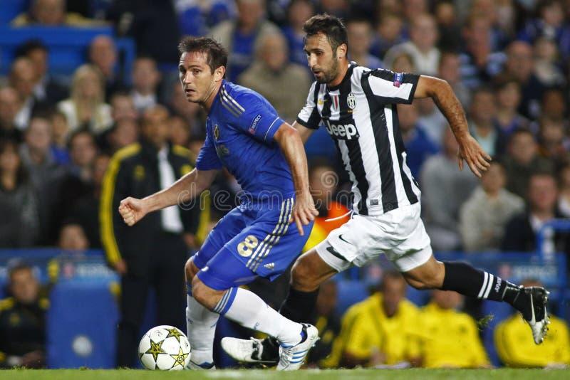 Voetbaluefa verdedigt Liga Chelsea v Juventus royalty-vrije stock foto's