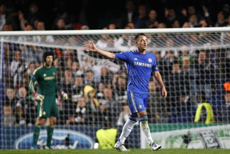 Voetbaluefa verdedigt Liga Chelsea v Juventus stock foto's