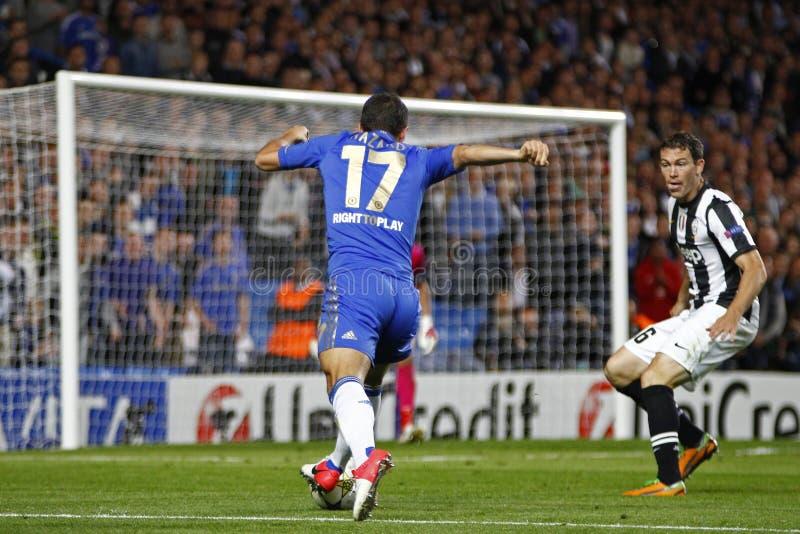 Voetbaluefa verdedigt Liga Chelsea v Juventus stock fotografie