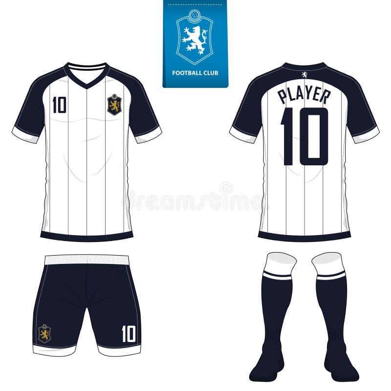 Voetbaluitrusting of het malplaatje van voetbaljersey voor voetbalclub Korte het overhemdsspot van de kokervoetbal omhoog Voor en royalty-vrije illustratie