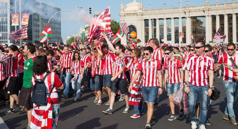 Voetbalventilators van Atletisch Bilbao stock foto