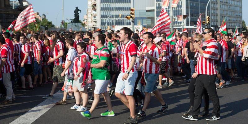 Voetbalventilators van Atletisch Bilbao stock afbeeldingen