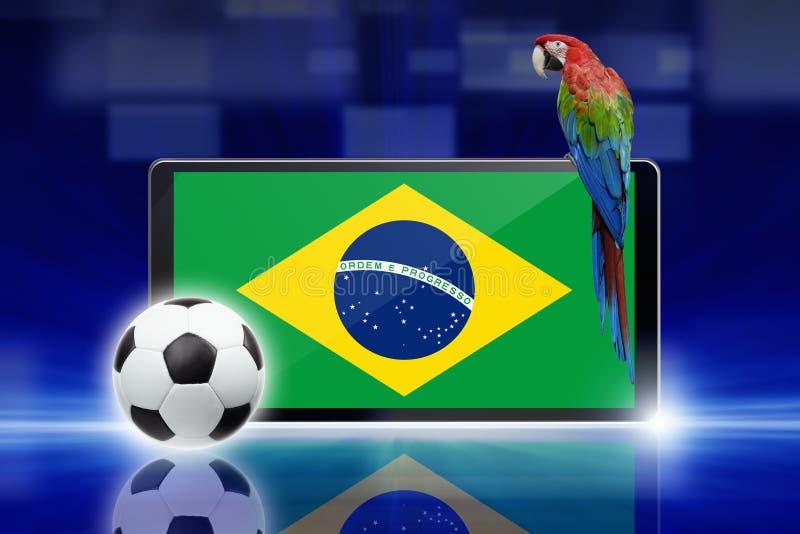 Voetbalvideospelletje, de papegaai van Brazilië vector illustratie