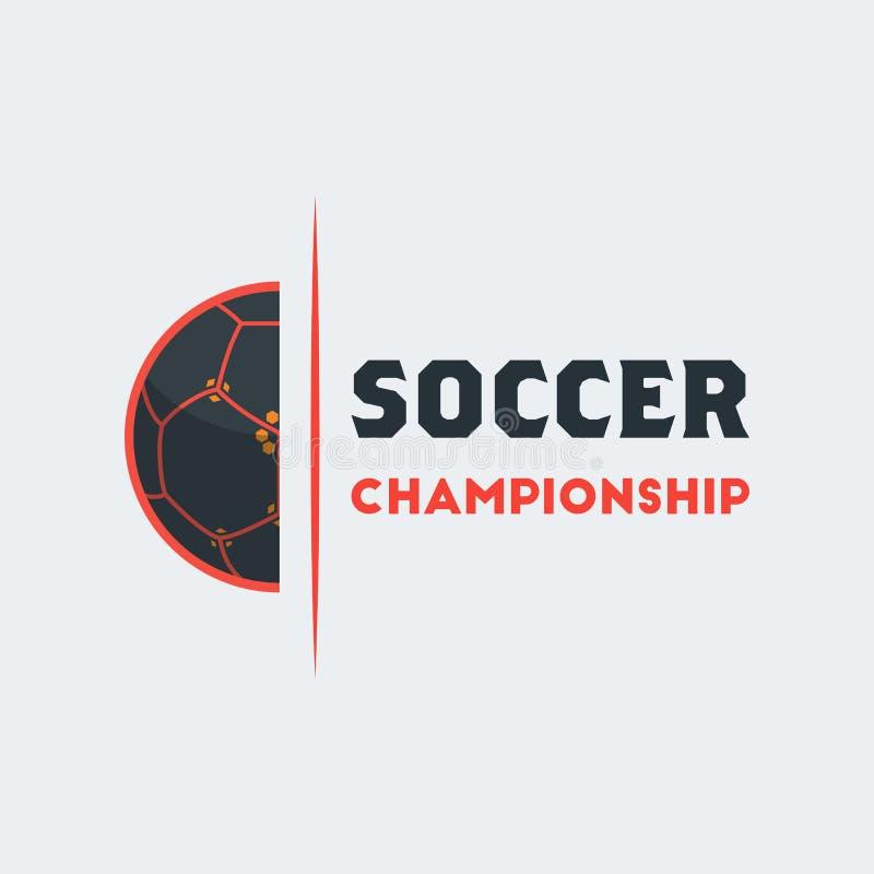 Voetbalvoetbal Logo Template Het moderne Embleem van de Sportbal met Hal royalty-vrije illustratie