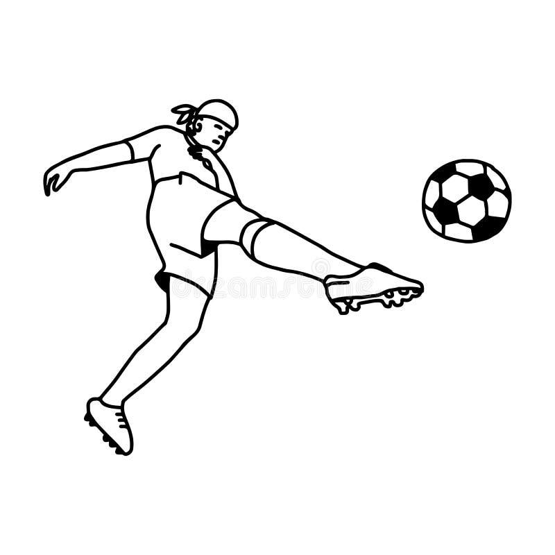 Voetbalvoetballer in actie - vectorillustratieschets Ha royalty-vrije illustratie