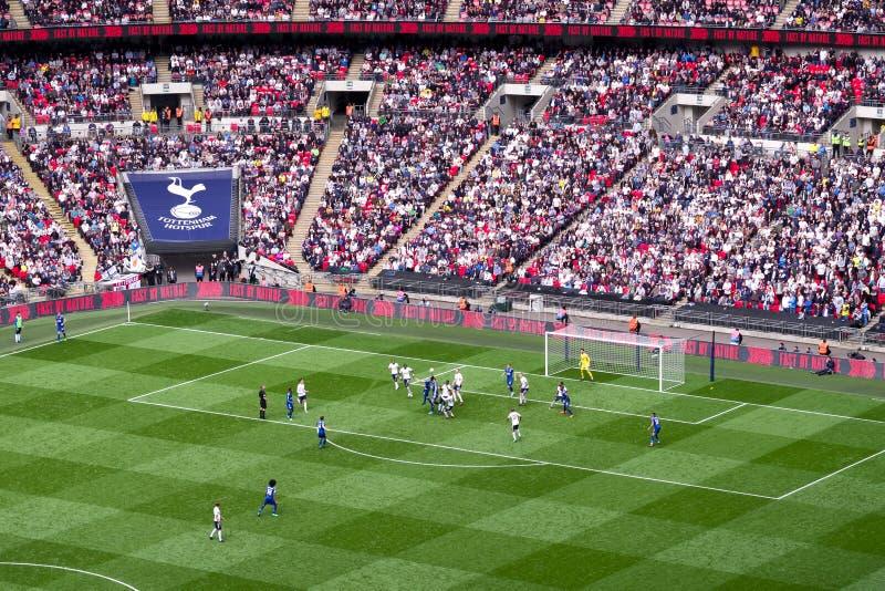 Voetbalwedstrijd bij Wembley-stadion, Londen royalty-vrije stock afbeelding