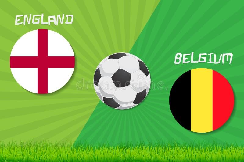 Voetbalwedstrijd Engeland versus België De achtergrond van de sport royalty-vrije illustratie