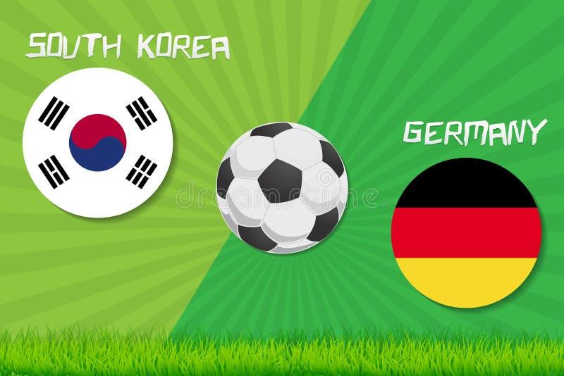 Voetbalwedstrijd Zuid-Korea versus Duitsland De achtergrond van de sport stock illustratie