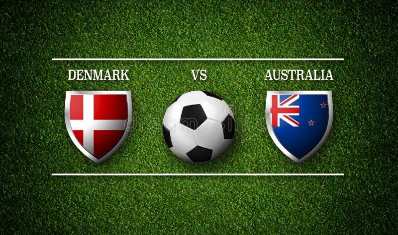 Download Voetbalwedstrijdprogramma Denemarken Versus Australie Stock Illustratie Illustratie Bestaande Uit Competition Rendering