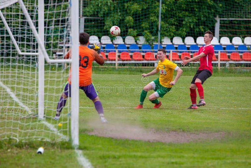Voetbalwedstrijdster Lyubertsy - Kotelniki stock afbeelding