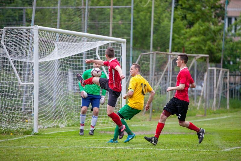 Voetbalwedstrijdster Lyubertsy - Kotelniki stock fotografie