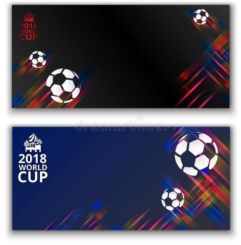 Voetbalwereldbeker 2018 achtergronden met voetbalballen stock illustratie