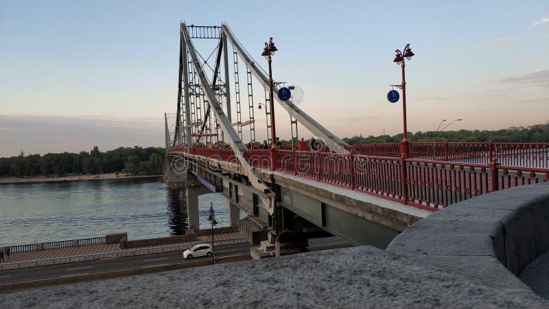 Voetbrug, Kiev, de Oekraïne stock afbeeldingen