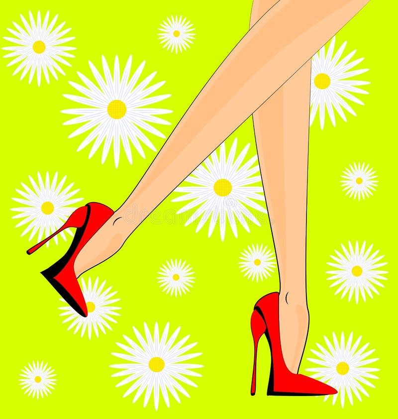 voeten en rode schoenen royalty-vrije illustratie