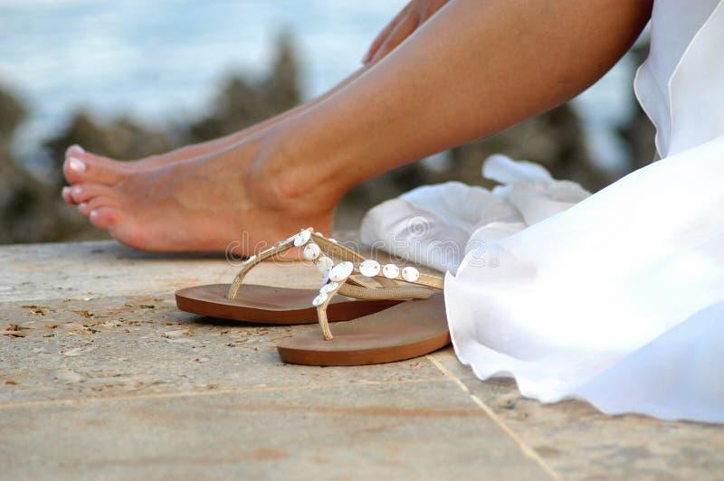 Voeten en sandals   stock fotografie