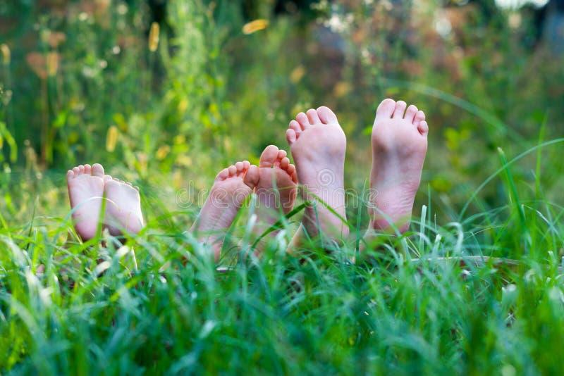Voeten in Gras stock foto