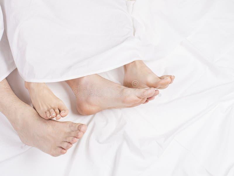 Voeten paarslaap zij aan zij in comfortabel bed Sluit omhoog van voeten in een bed onder witte deken Naakte voeten van a royalty-vrije stock foto