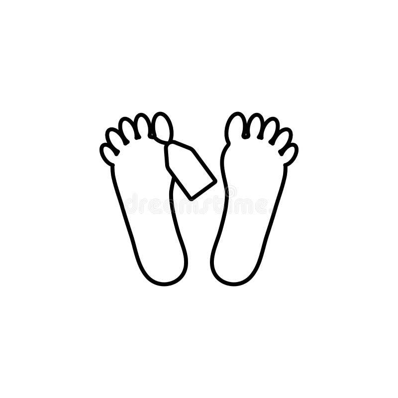 voeten van lijkpictogram Element van misdaad en strafpictogram voor mobiel concept en Web apps De dunne lijnvoeten van lijkpictog stock illustratie