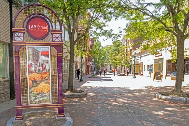 Voetgang Jay Street stock afbeeldingen