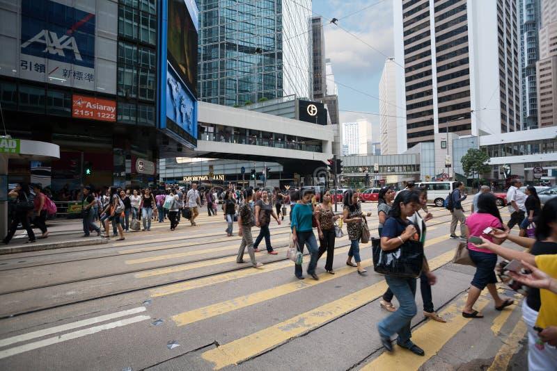 Voetgangers in Centraal district van Hong Kong royalty-vrije stock afbeelding