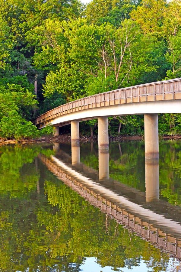 Voetgangersbrug aan Theodore Roosevelt Island royalty-vrije stock foto