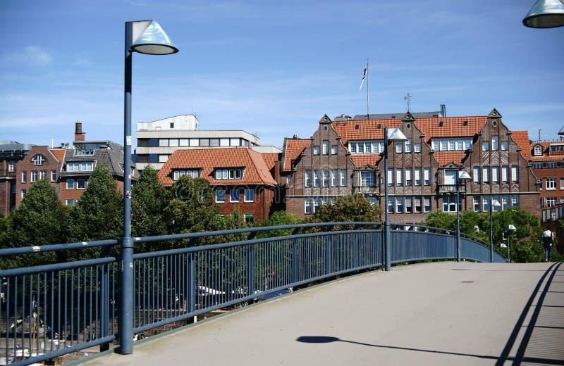 Voetgangersbrug over de Rivier Weser royalty-vrije stock fotografie