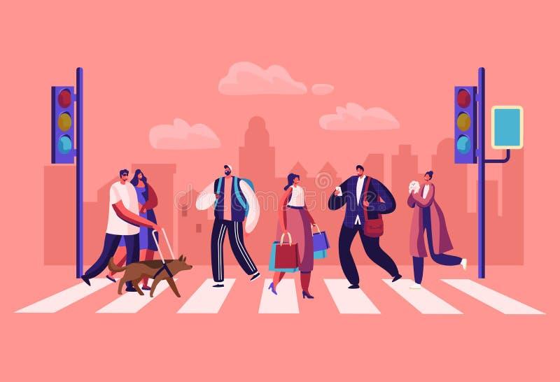 Voetgangersmensen die op Stadsstraat lopen Mannen en Vrouwenkaraktershaast op het Werk aangaande Stedelijke Achtergrond met Verke vector illustratie