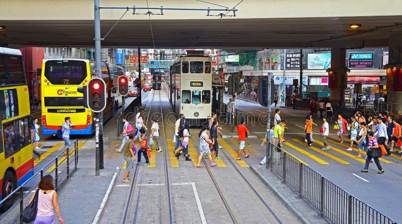 Voetgangersoversteekplaats bij canlweg, Hongkong stock fotografie