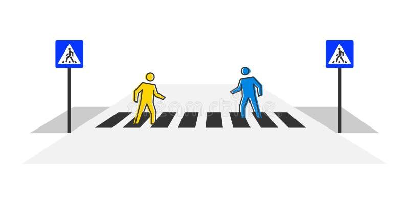 Voetgangersoversteekplaats vectorillustratie stock illustratie
