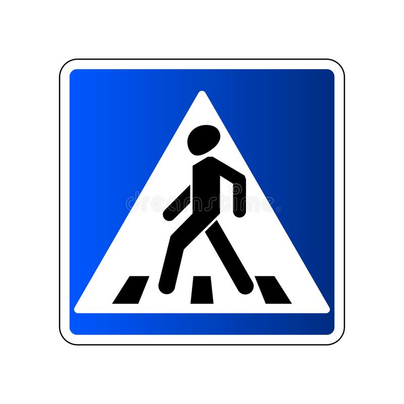 Voetgangersoversteekplaatsteken Het blauwe die teken van de verkeersweg op witte achtergrond wordt geïsoleerd Het pictogram van d vector illustratie