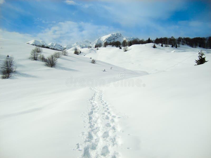 Voetstappen in de sneeuw in heuvels van berg royalty-vrije stock foto