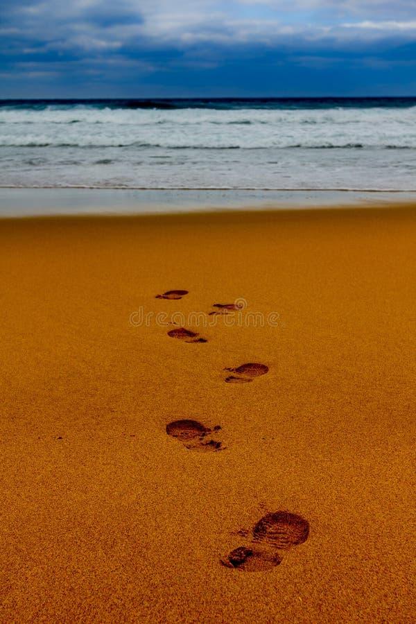 Voetstappen in nat zand in een lijn naar het overzees stock foto