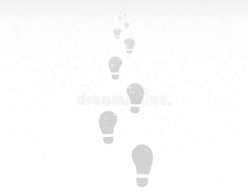 Voetstappen van één persoon in wintertijd met sneeuwvlokken aan het succes of het eind van de weg vectorillustratie vector illustratie