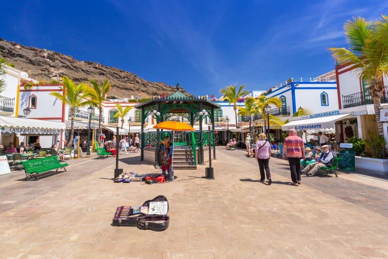 Voetsteeg op het havengebied van Puerto DE Mogan, Gran Canaria royalty-vrije stock afbeeldingen