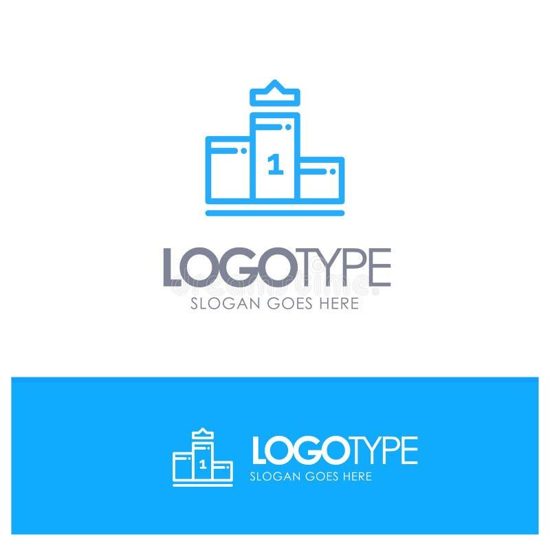 Voetstuk, eerst, Eerste Plaats, Onderwijs Blauw Logo Line Style vector illustratie