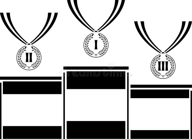 Voetstuk met medailles royalty-vrije illustratie