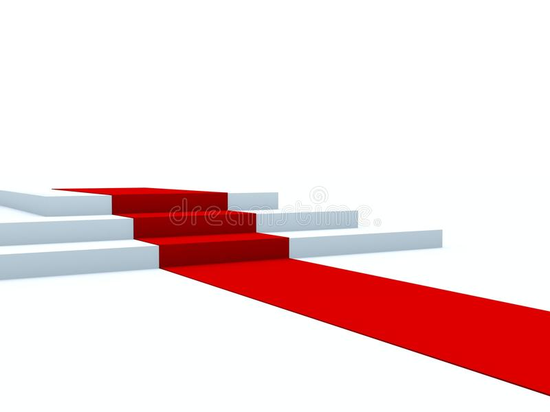 Voetstuk met rode weg stock illustratie