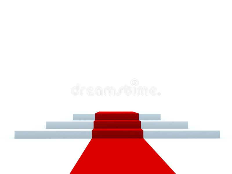 Voetstuk met rode weg royalty-vrije illustratie