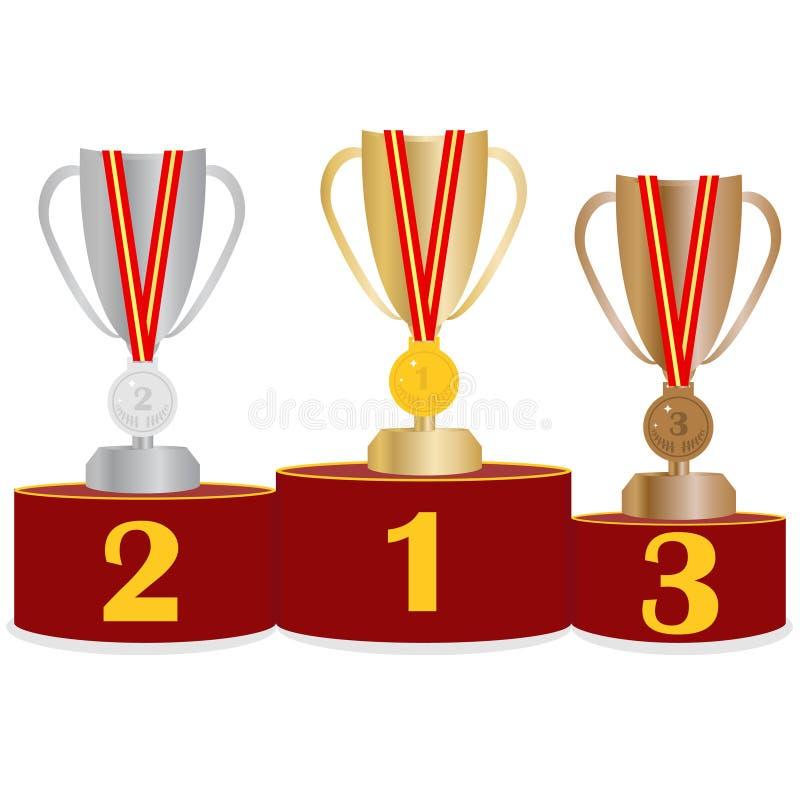 Voetstuk van eer met sportentrofeeën Sportenvoetstuk met koppen en medailles royalty-vrije illustratie