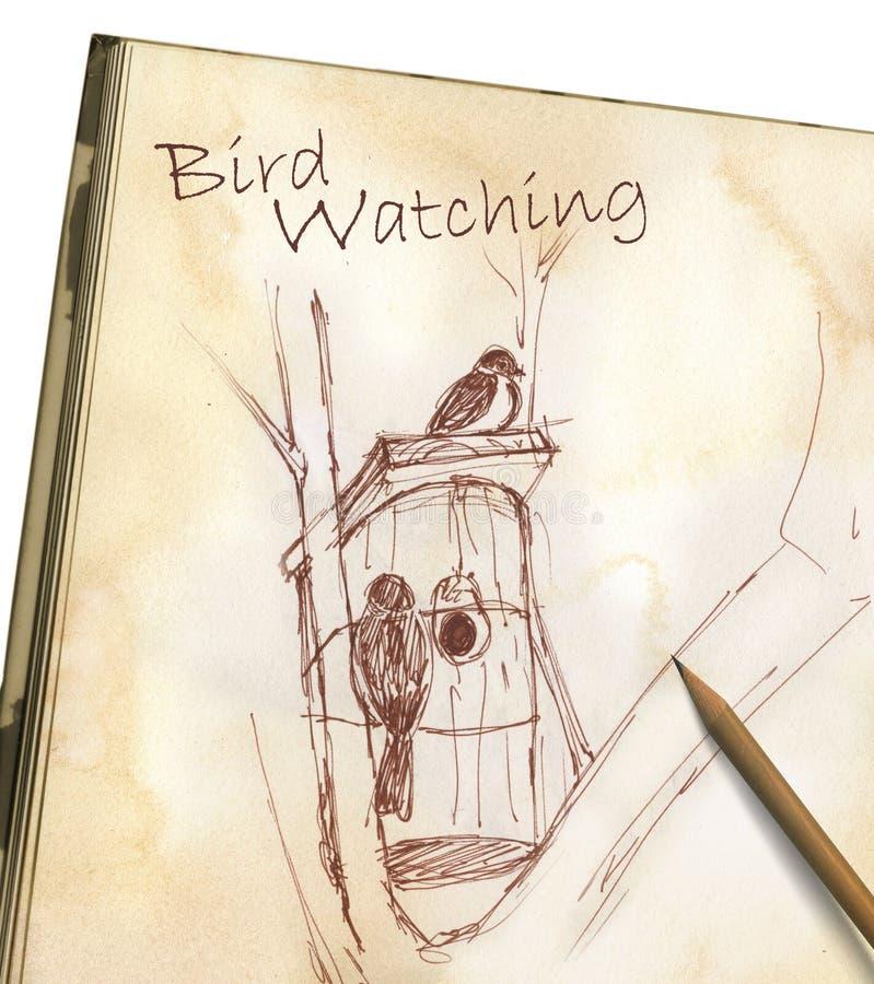 Vogelüberwachen - Zeichnung Auf Sketchpad Stockbild