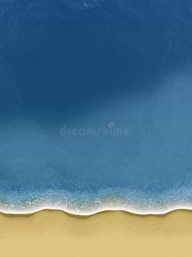 Vogel-Ansicht der Wellen, die über dem Strand rollen lizenzfreie abbildung