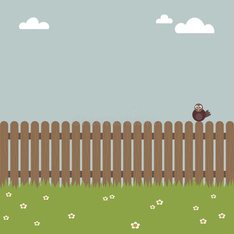 Vogel auf einem Zaun stock abbildung