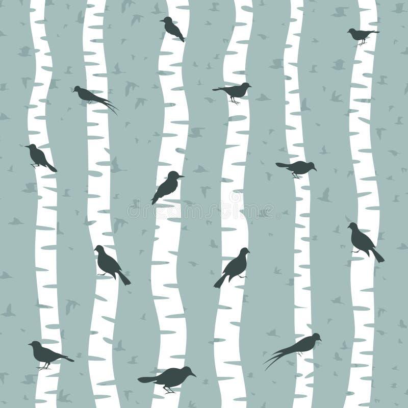 Vogel auf einer Birke lizenzfreie abbildung
