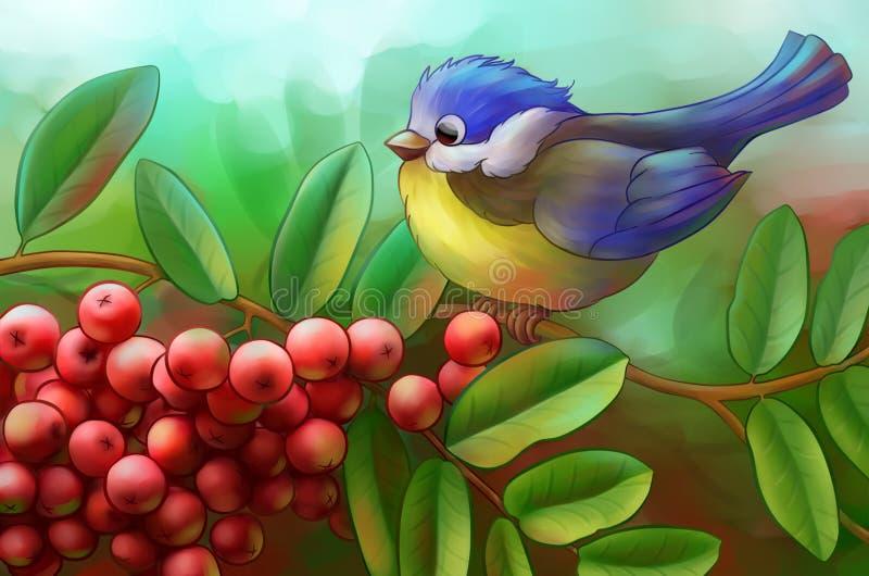 Vogel auf einer Niederlassung der Eberesche lizenzfreie abbildung