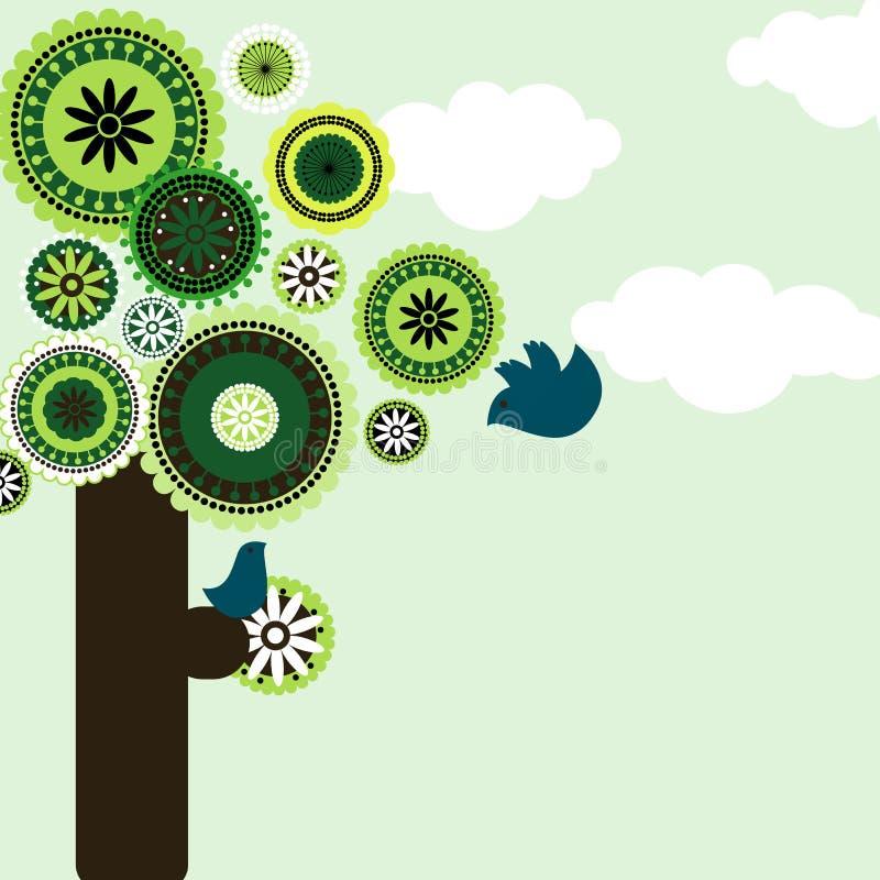 Vogel auf Paisley-nahtlosem Baum stock abbildung